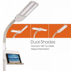 Dual Shade Led Floor Lamp With Usb Charging Station Thornhill Lighting Thornhill Lighting